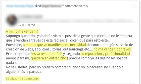 Mira la conversación que me encontré en LinkedIn