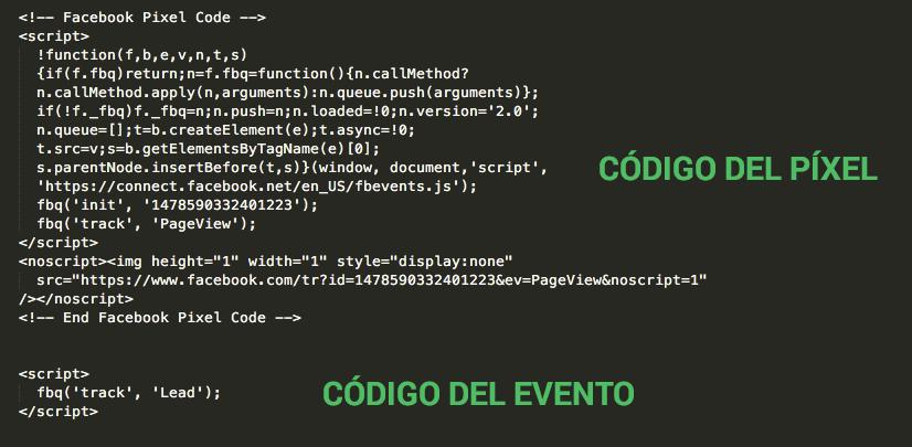 Código del Píxel de Facebook y del evento