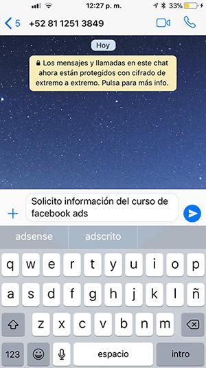 Pantalla de mensaje de WhatsApp